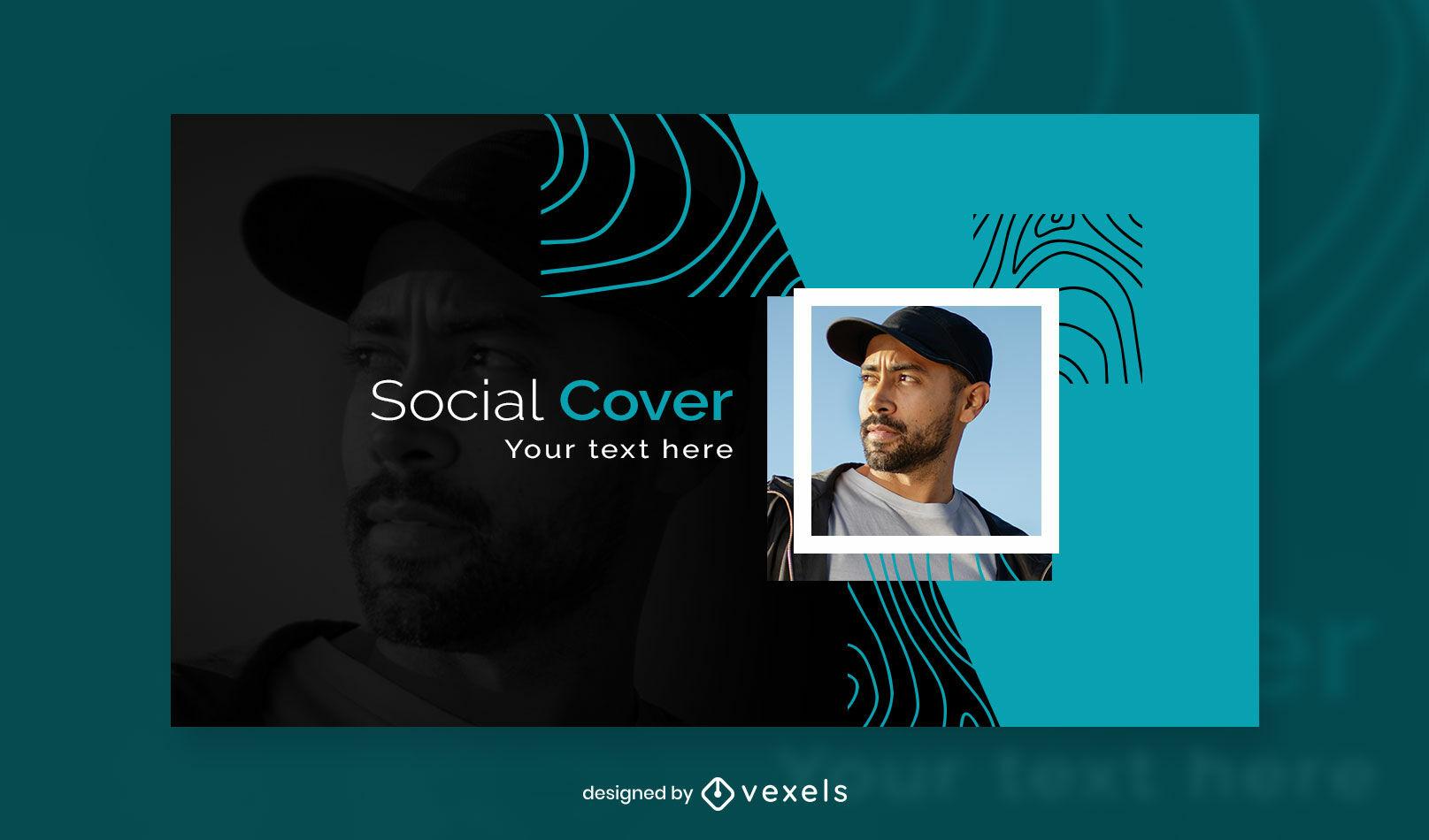 Plantilla de portada de facebook abstracta negra y azul