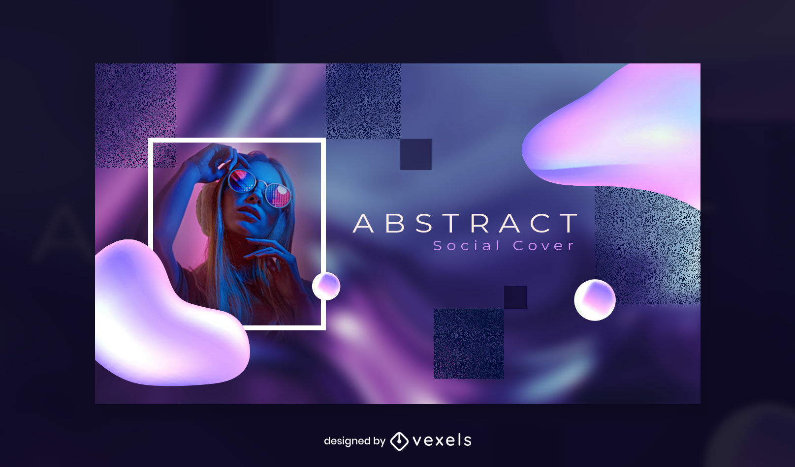 Abstract shapes and textures facebook cover template