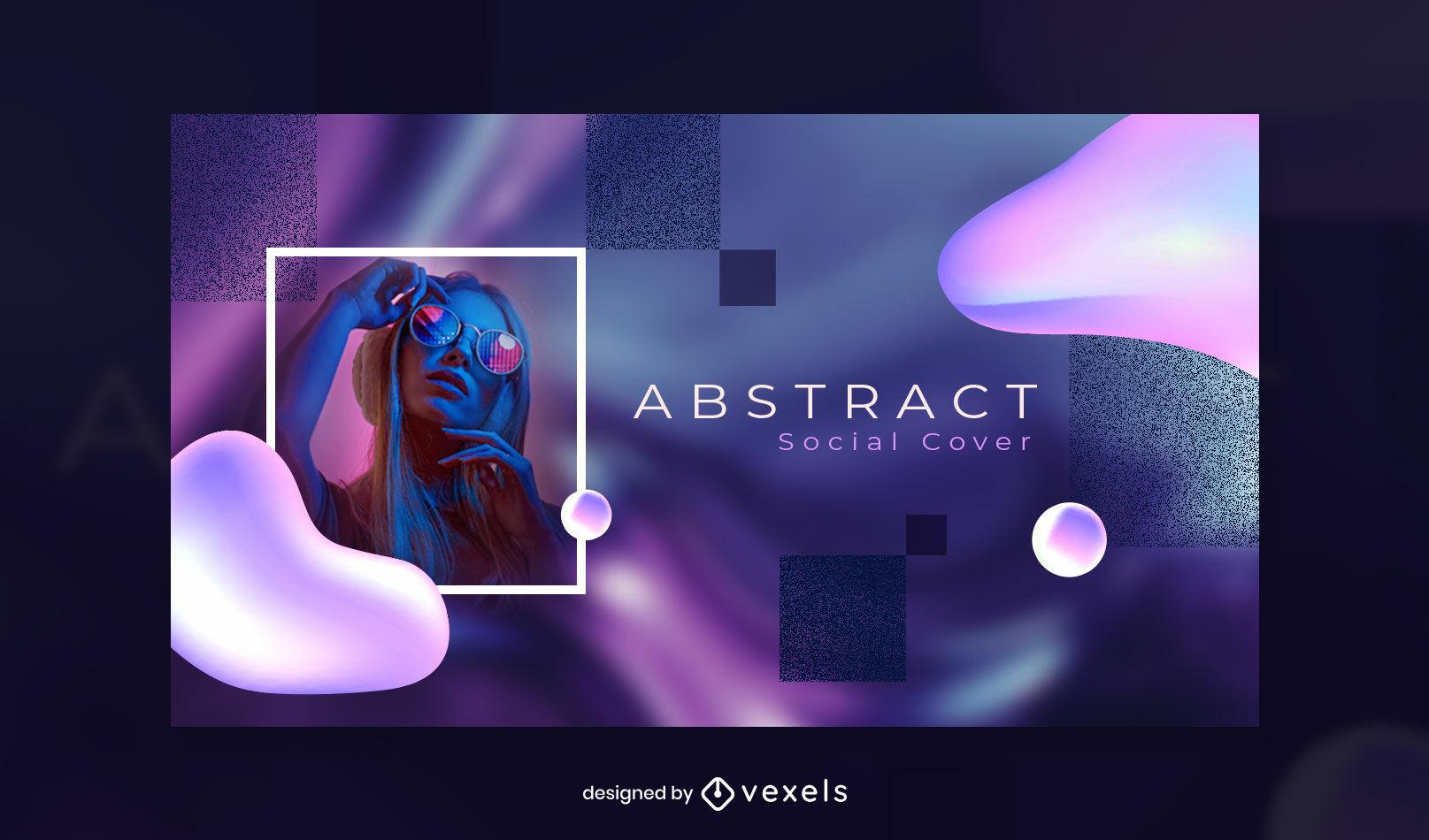 Plantilla de portada de facebook de formas y texturas abstractas