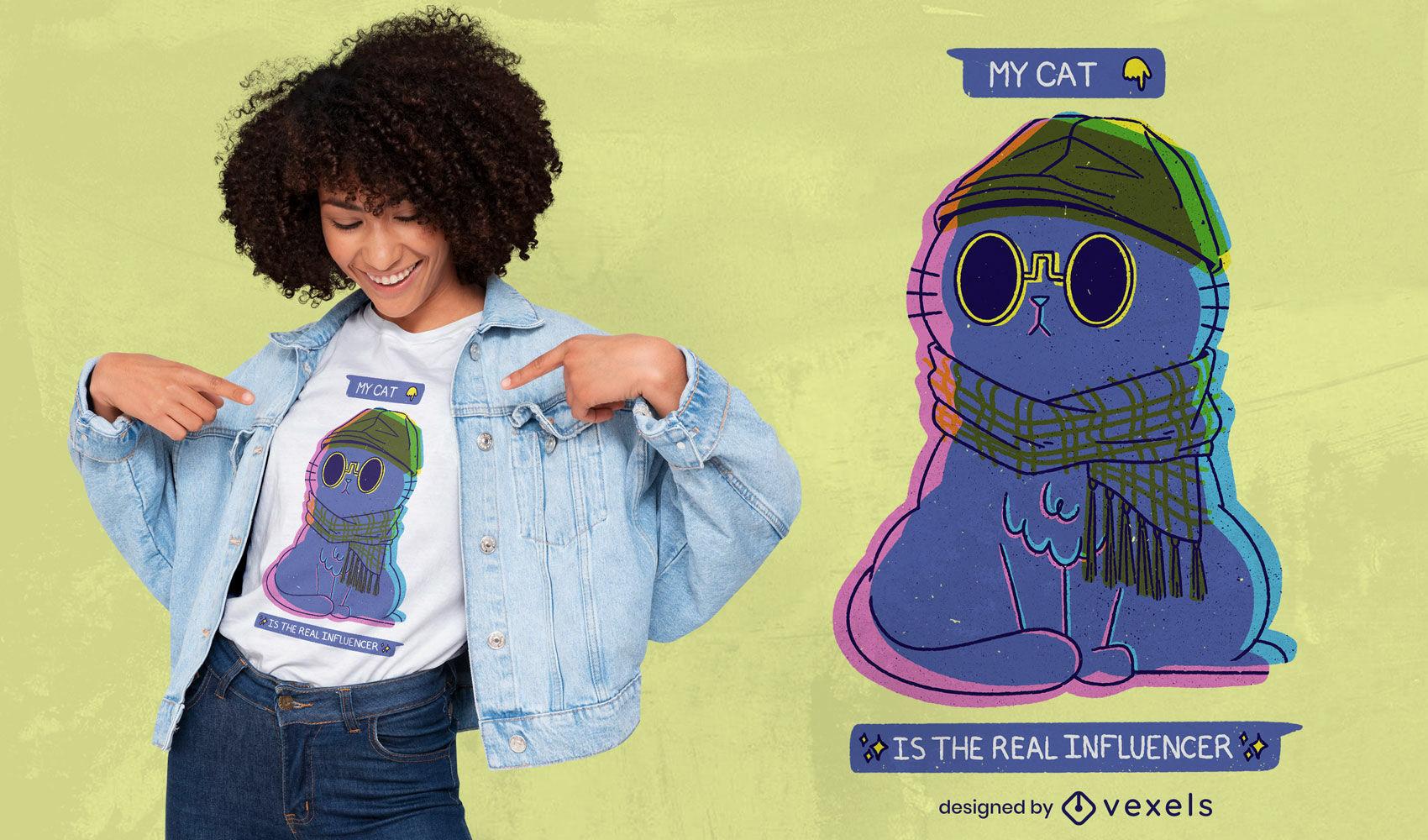 Influencer cartoon cat psd t-shirt design