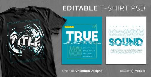 Plantilla de camiseta psd escalable de texto de ondas de agua