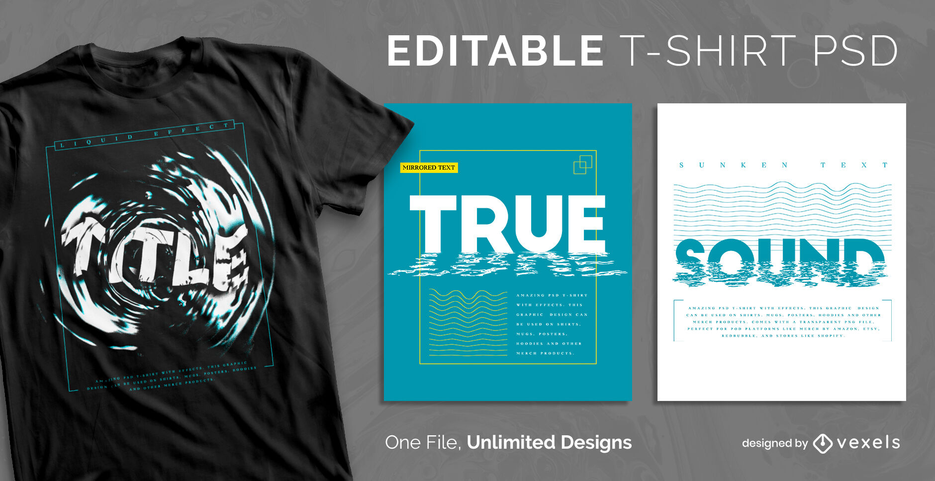 Wasserwellen Text skalierbare PSD-T-Shirt-Vorlage