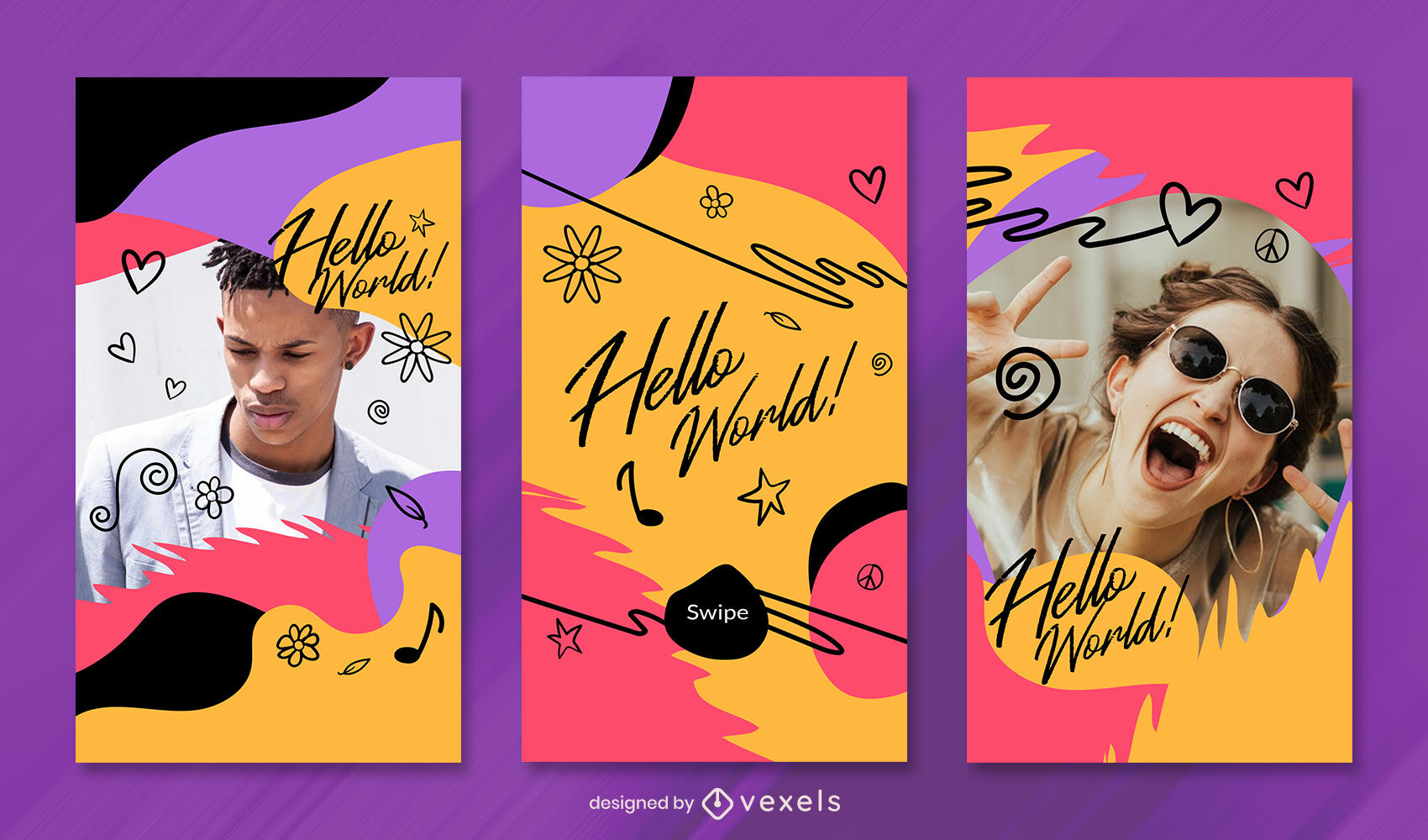 Doodle colorful instagram story template