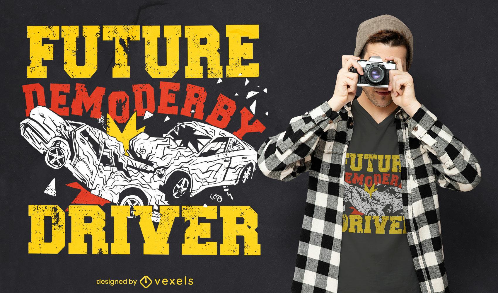Diseño de camiseta de conductor de coche derby de demolición.