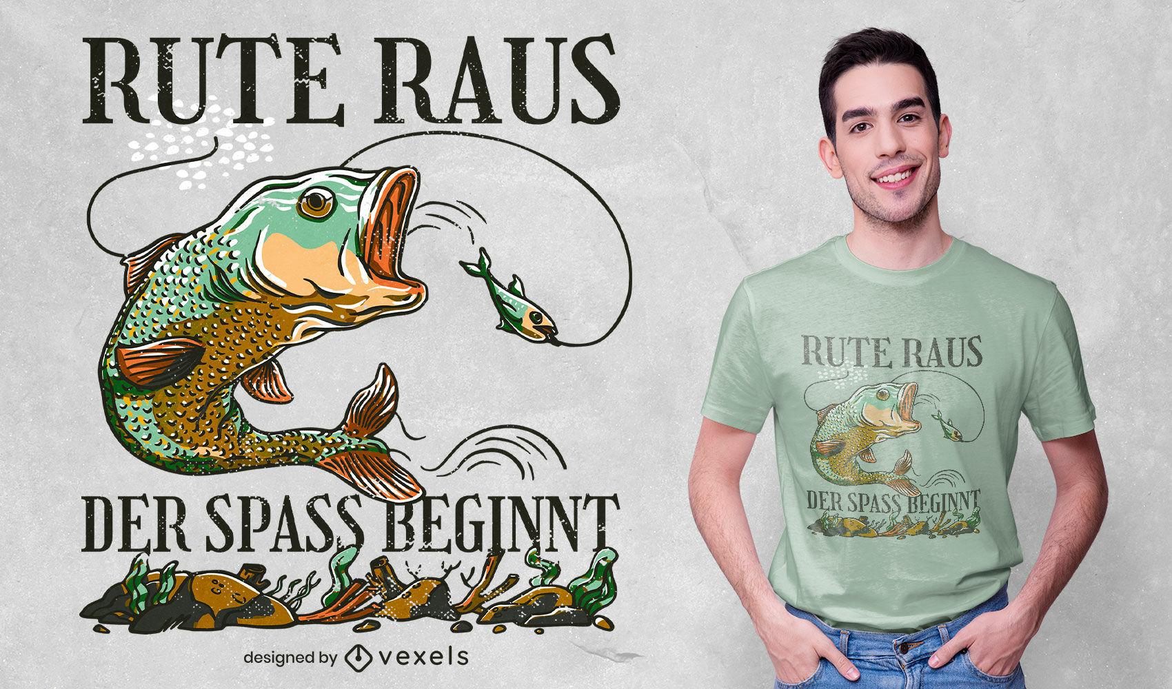 Desenho de t-shirt com ilustração de citação alemã de pesca