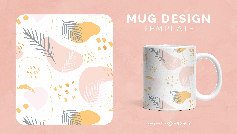 Organic abstract shapes mug template