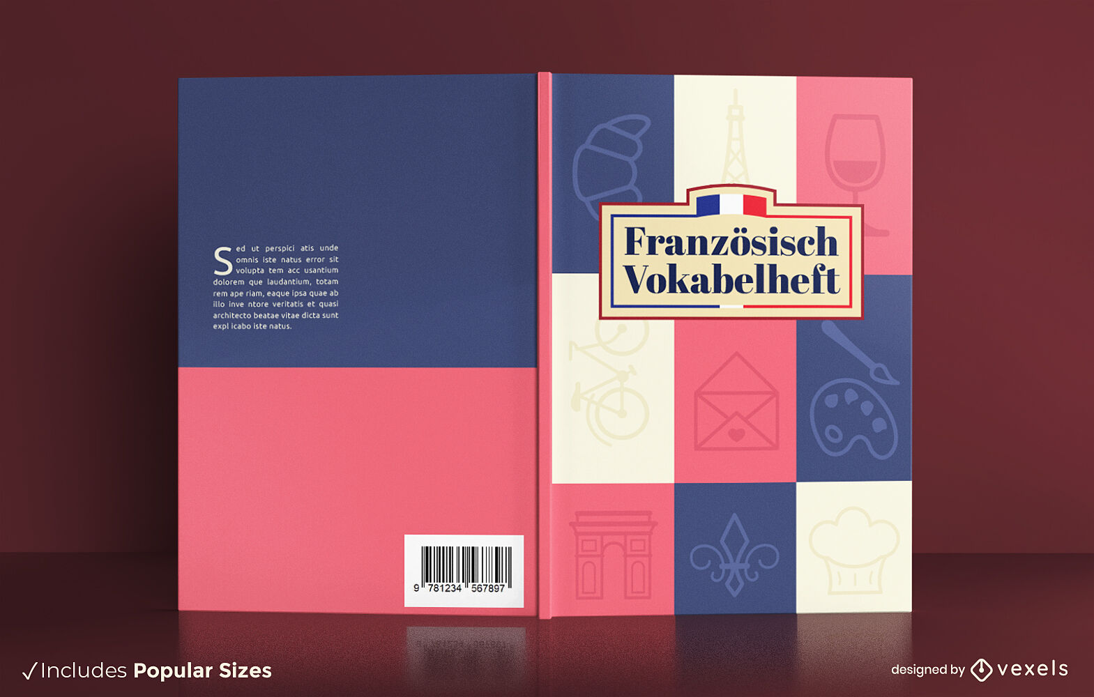 Diseño de portada de libro de elementos de cultura francesa.