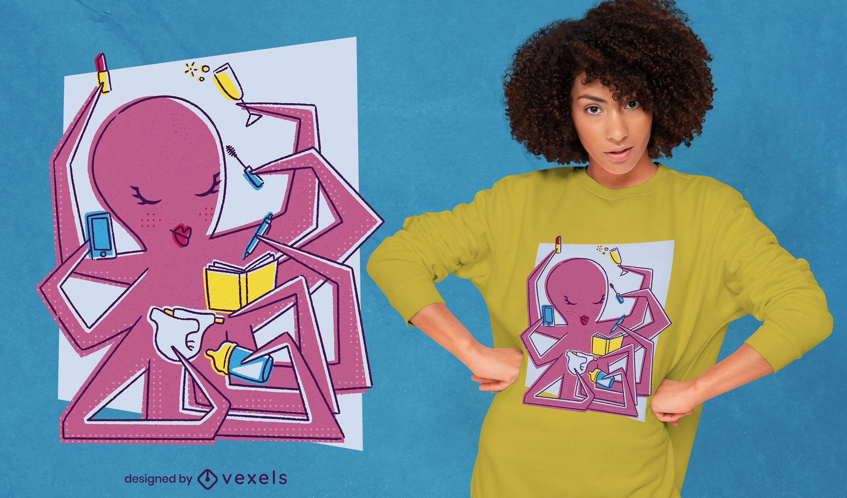 Multitasking female octopus psd t-shirt design