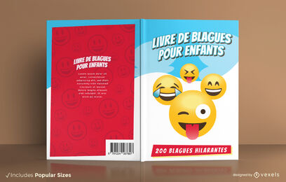 Funny emoji faces joke book cover design