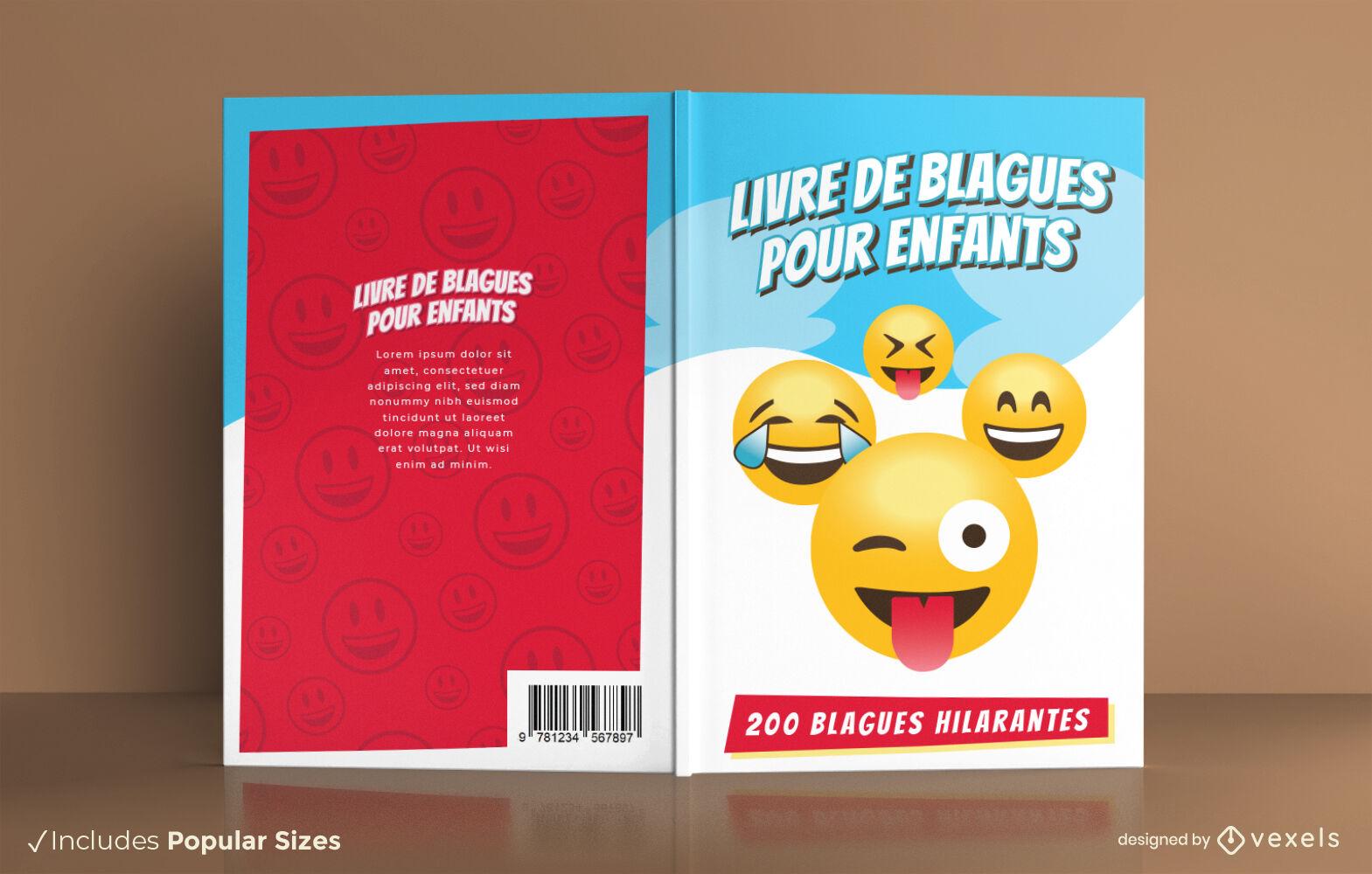 Divertido emoji enfrenta diseño de portada de libro de broma