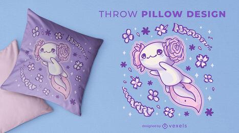 Flying axolotl animal cute throw pillow design