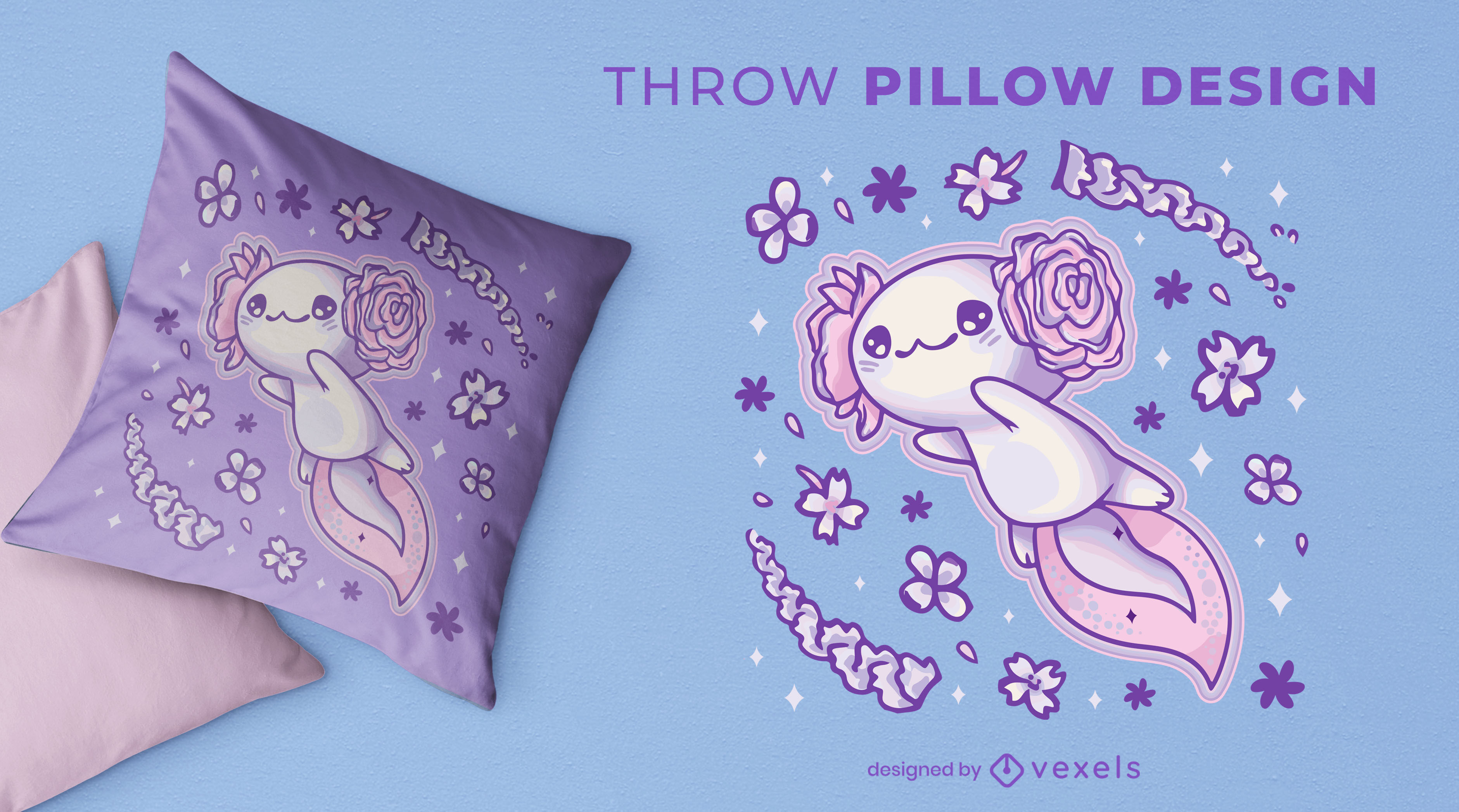 Dise?o lindo de la almohada del tiro del animal del axolotl volador