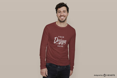 Man in red long sleeve t-shirt mockup