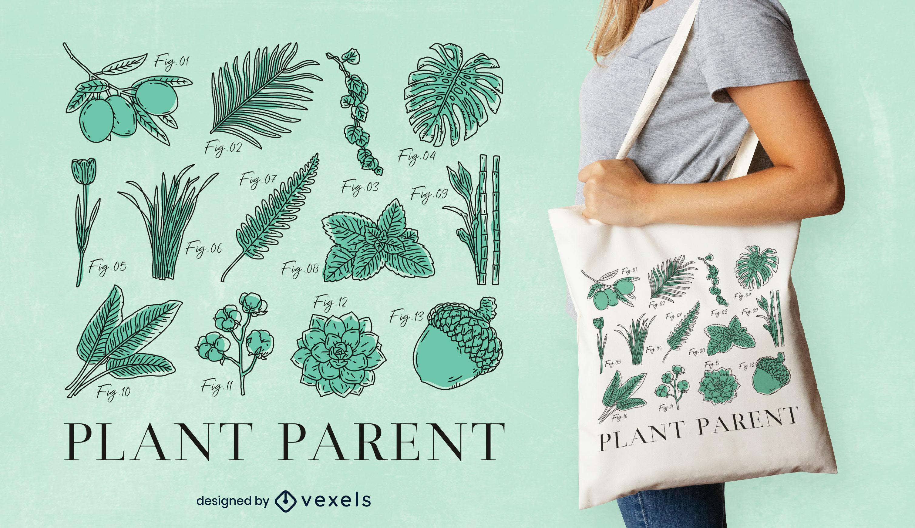 Diseño de bolso de mano de naturaleza de hojas y plantas.