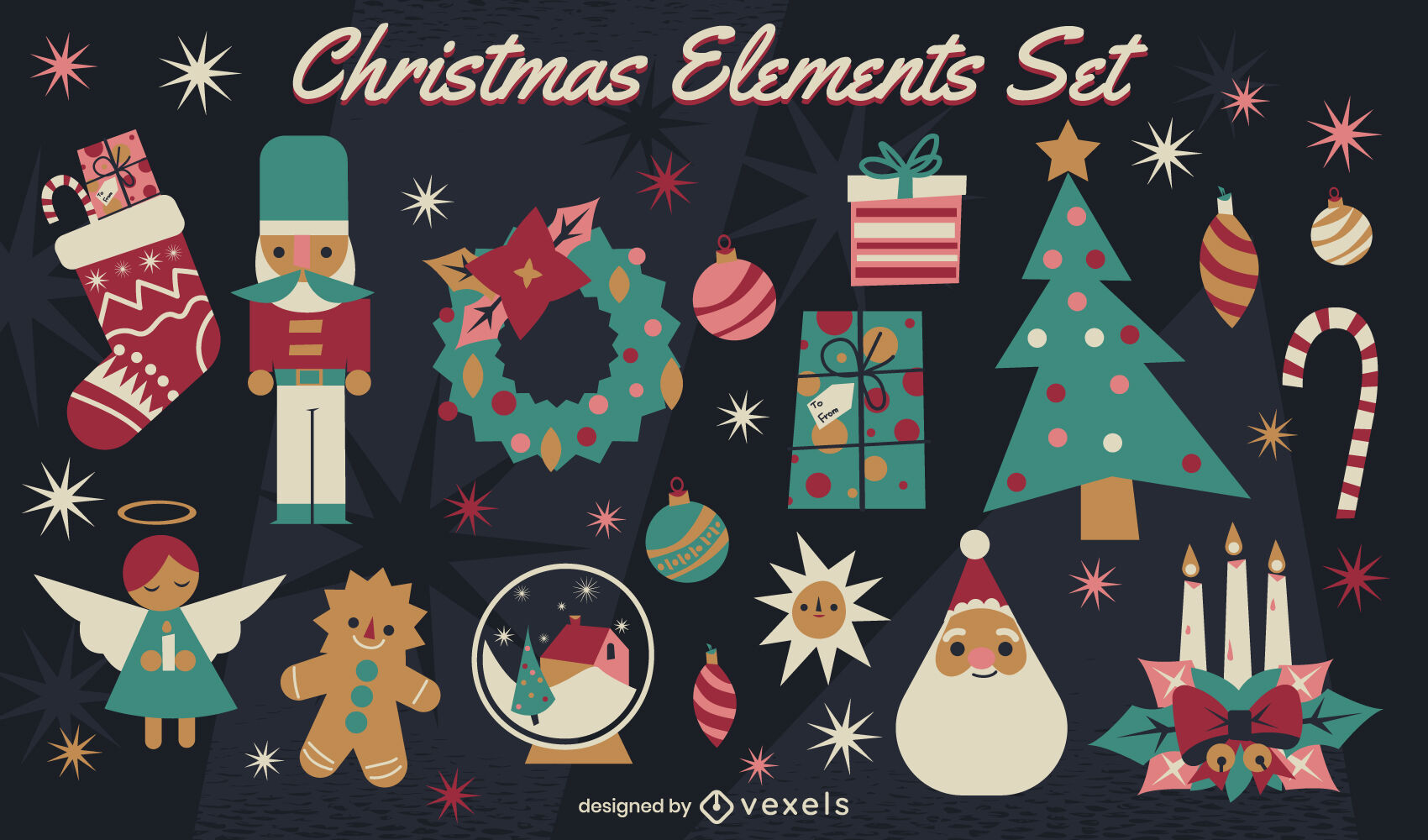 Christmas holiday decorations elements set
