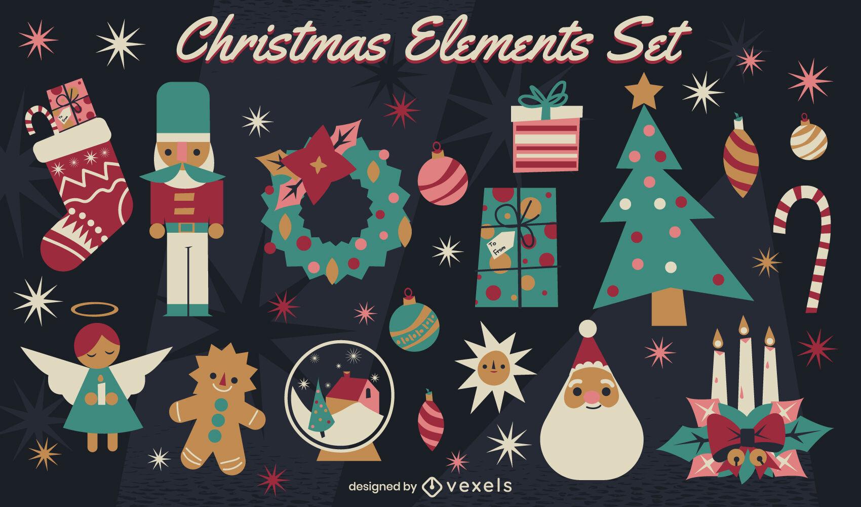 Conjunto de elementos de decoración navideña