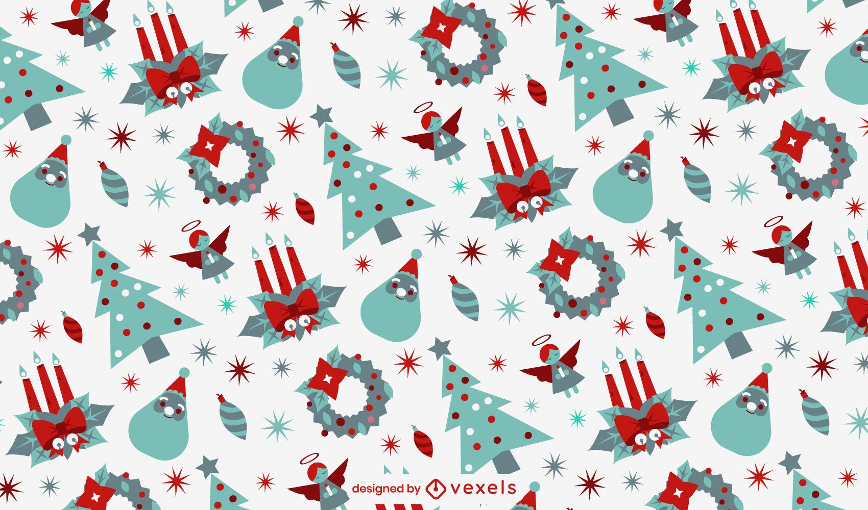 Desenho de padrões de decorações de natal