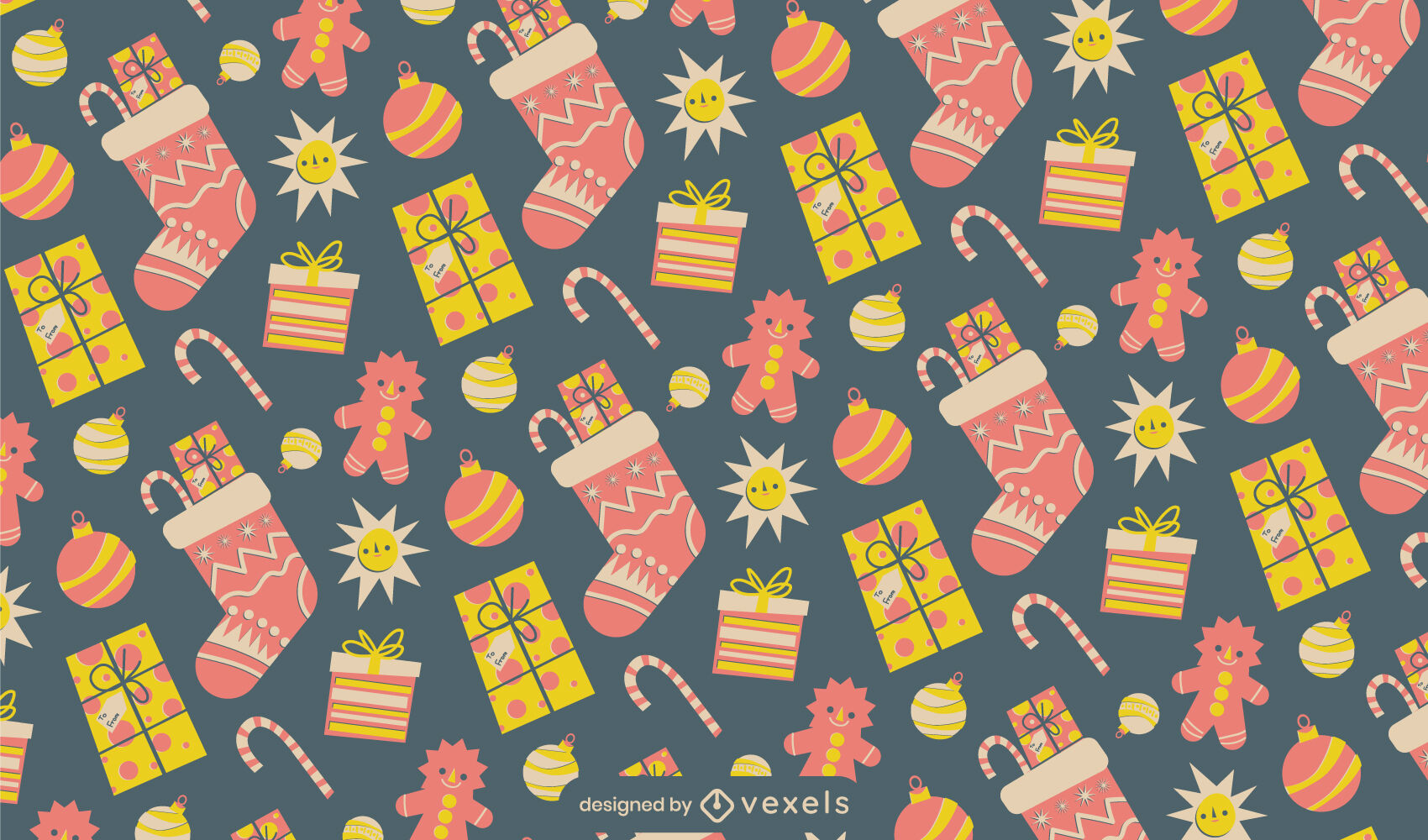 Diseño de patrón de regalos navideños