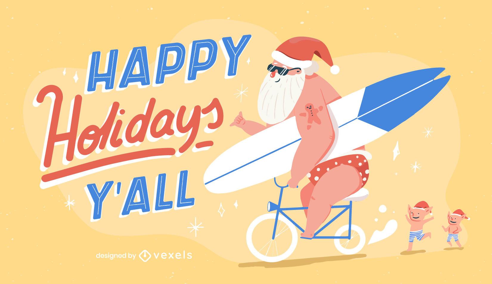 Santa claus christmas summer illustration