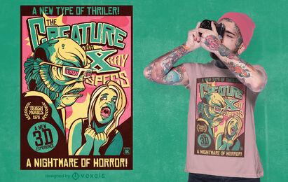 Diseño de camiseta de cartel retro de criatura aterradora