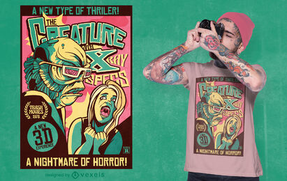 Scary creature retro poster t-shirt design