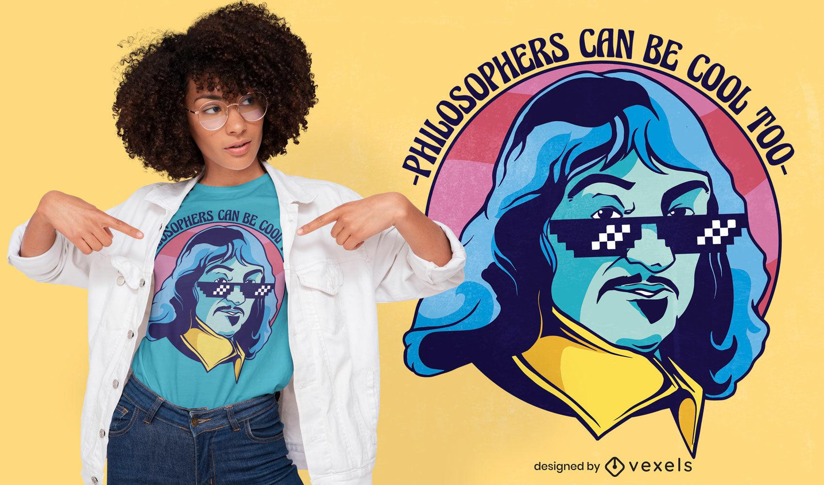 Design legal de camisetas do filósofo da Descartes