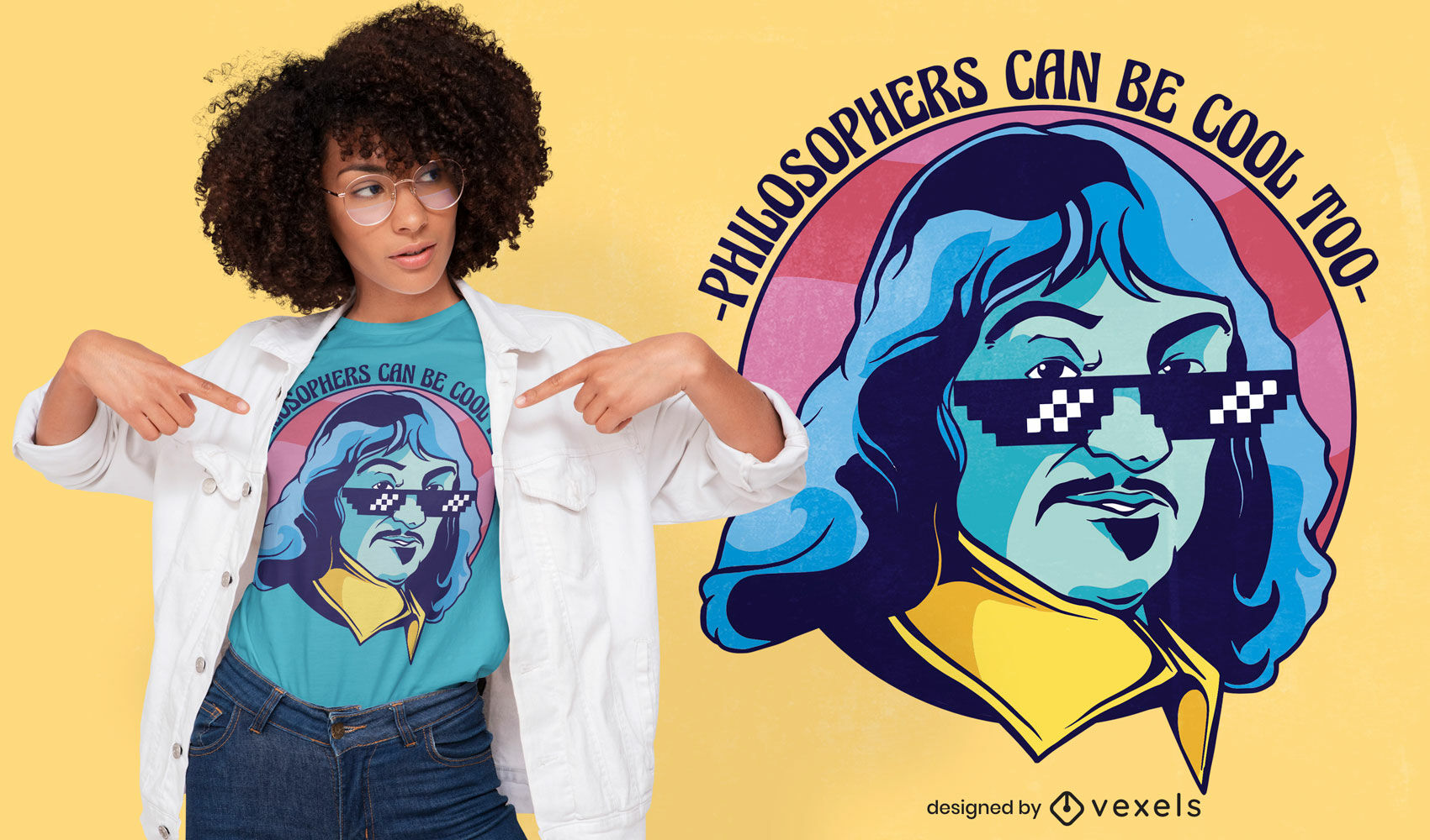 Genial dise?o de camiseta del fil?sofo Descartes.