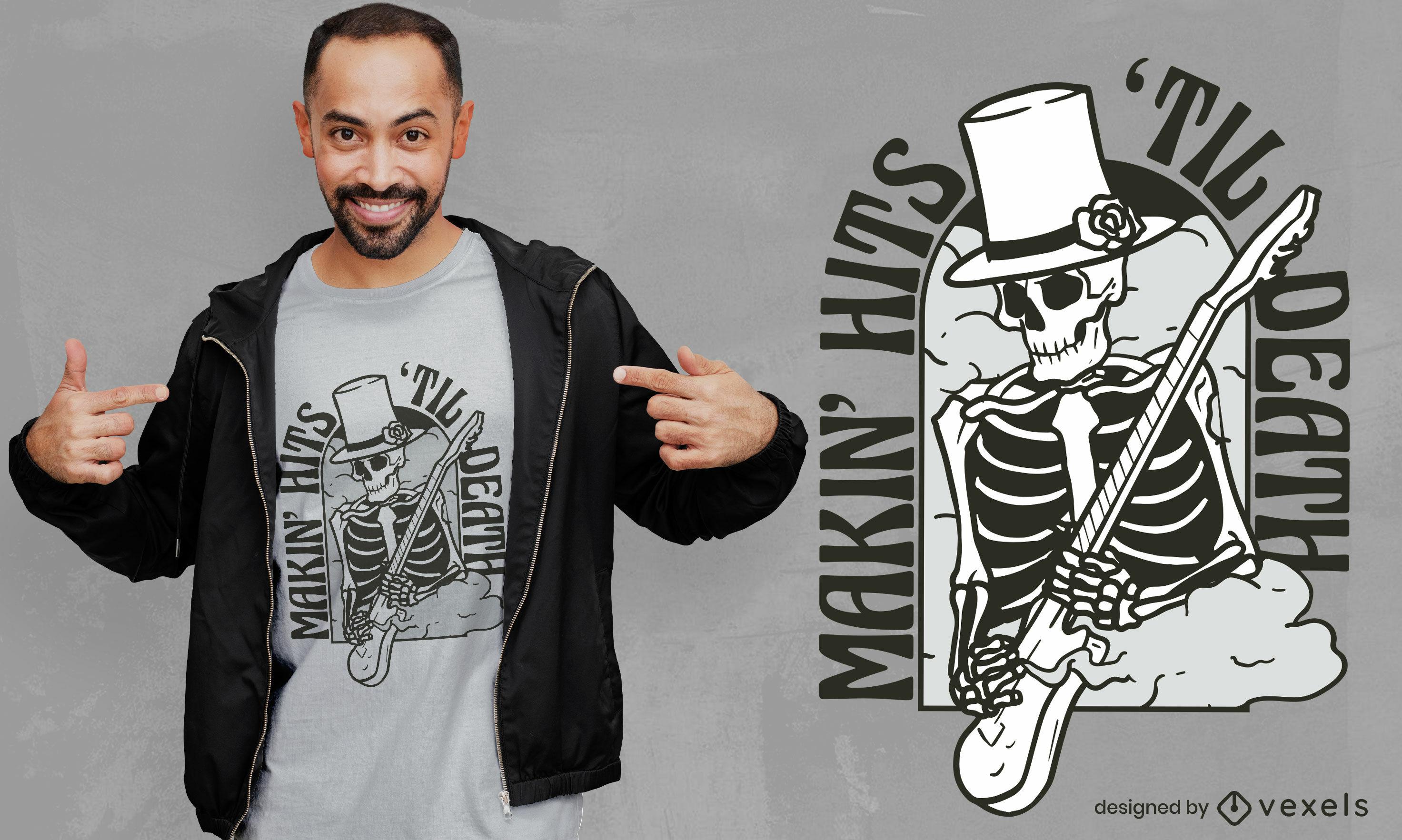 Diseño de camiseta de esqueleto de guitarrista