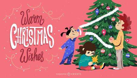 Niños con ilustración de árbol de navidad