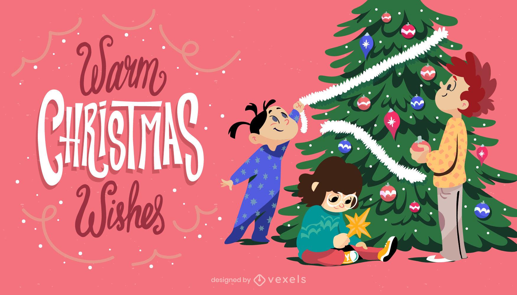 Kinder mit Weihnachtsbaumillustration