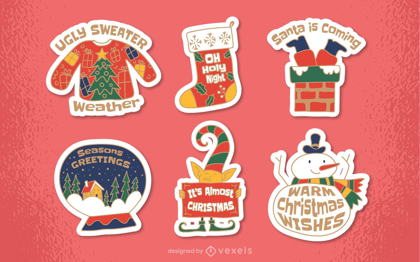 Christmas holiday season sticker set