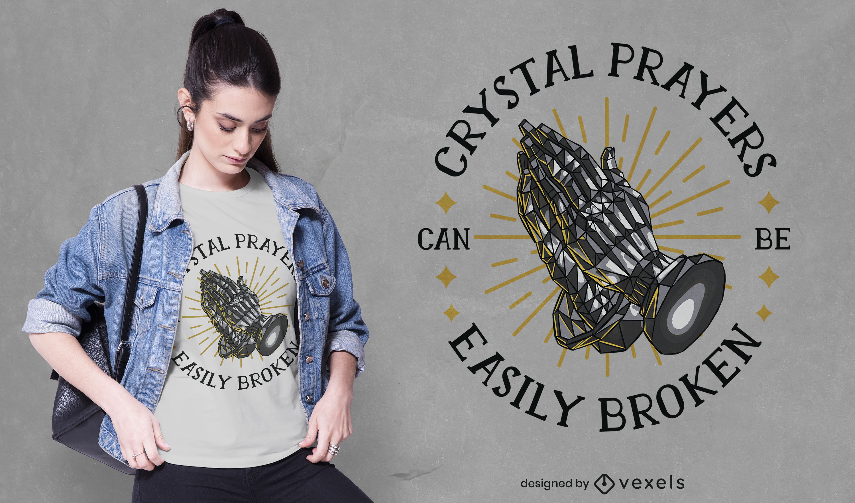 Diseño de camiseta con cita de manos rezando