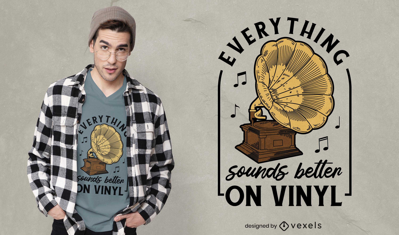 Diseño de camiseta de tocadiscos vintage