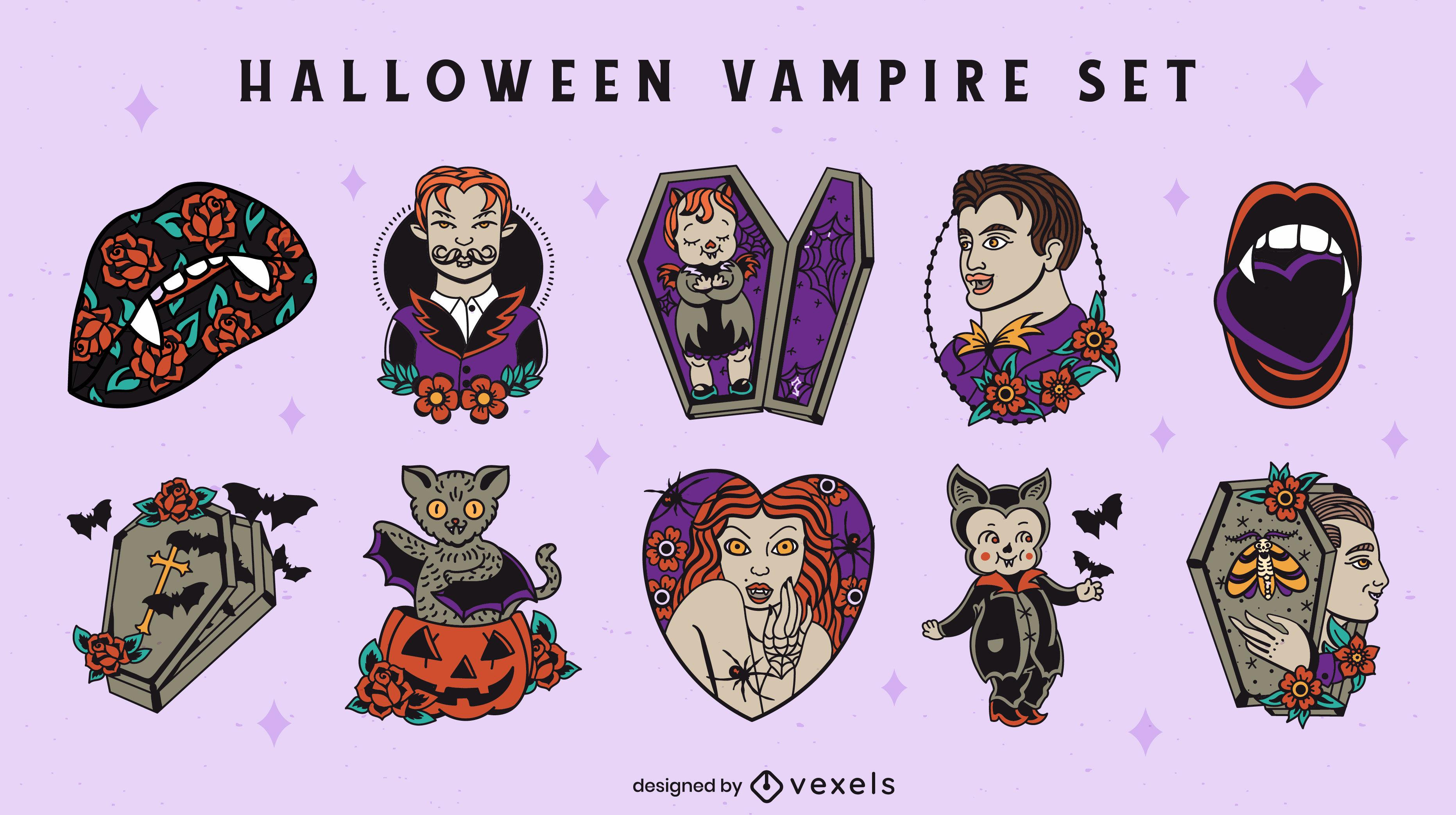 Estilo de tatuagem da velha escola de vampiros de Halloween
