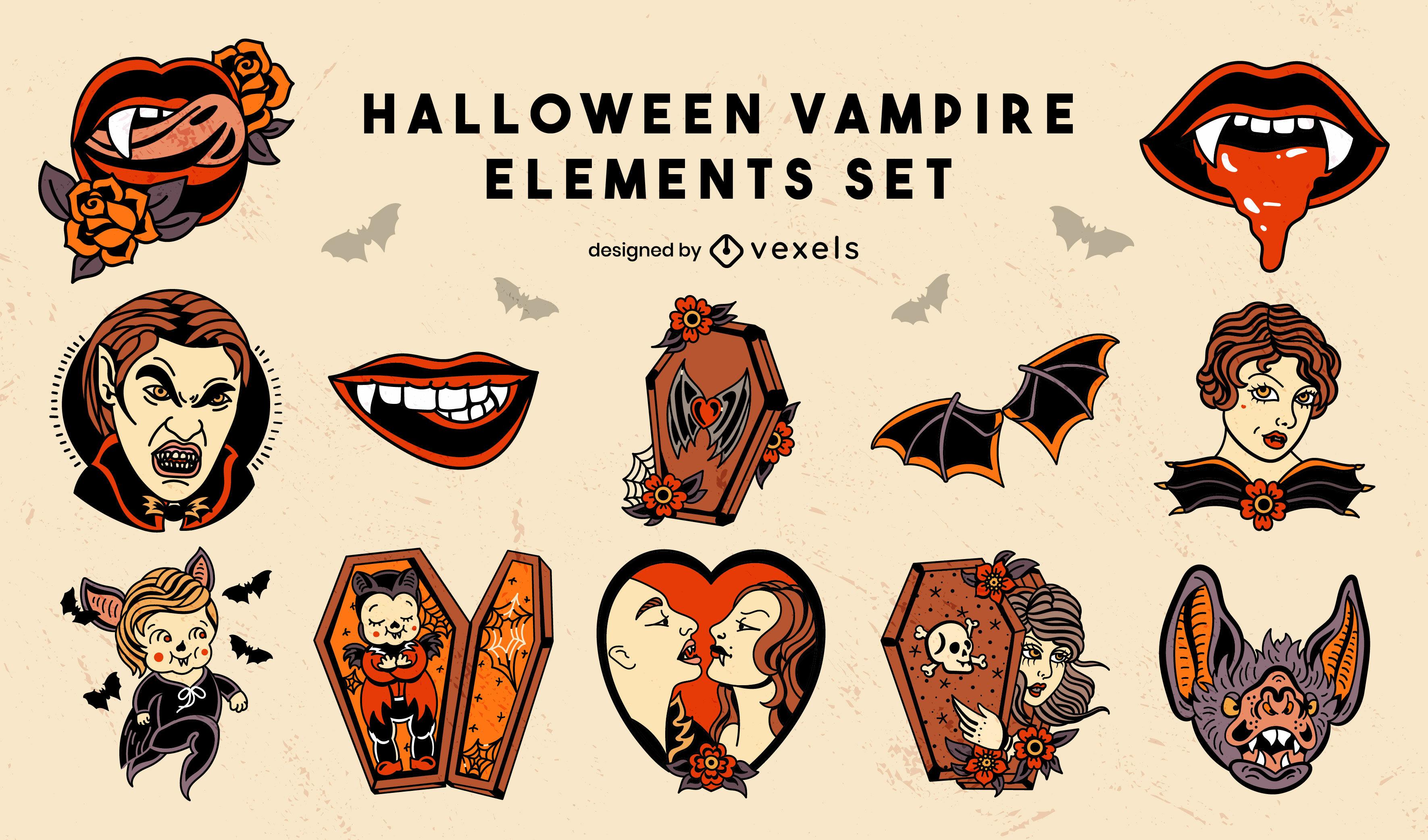 Elementos de vampiro estilo de tatuaje de la vieja escuela