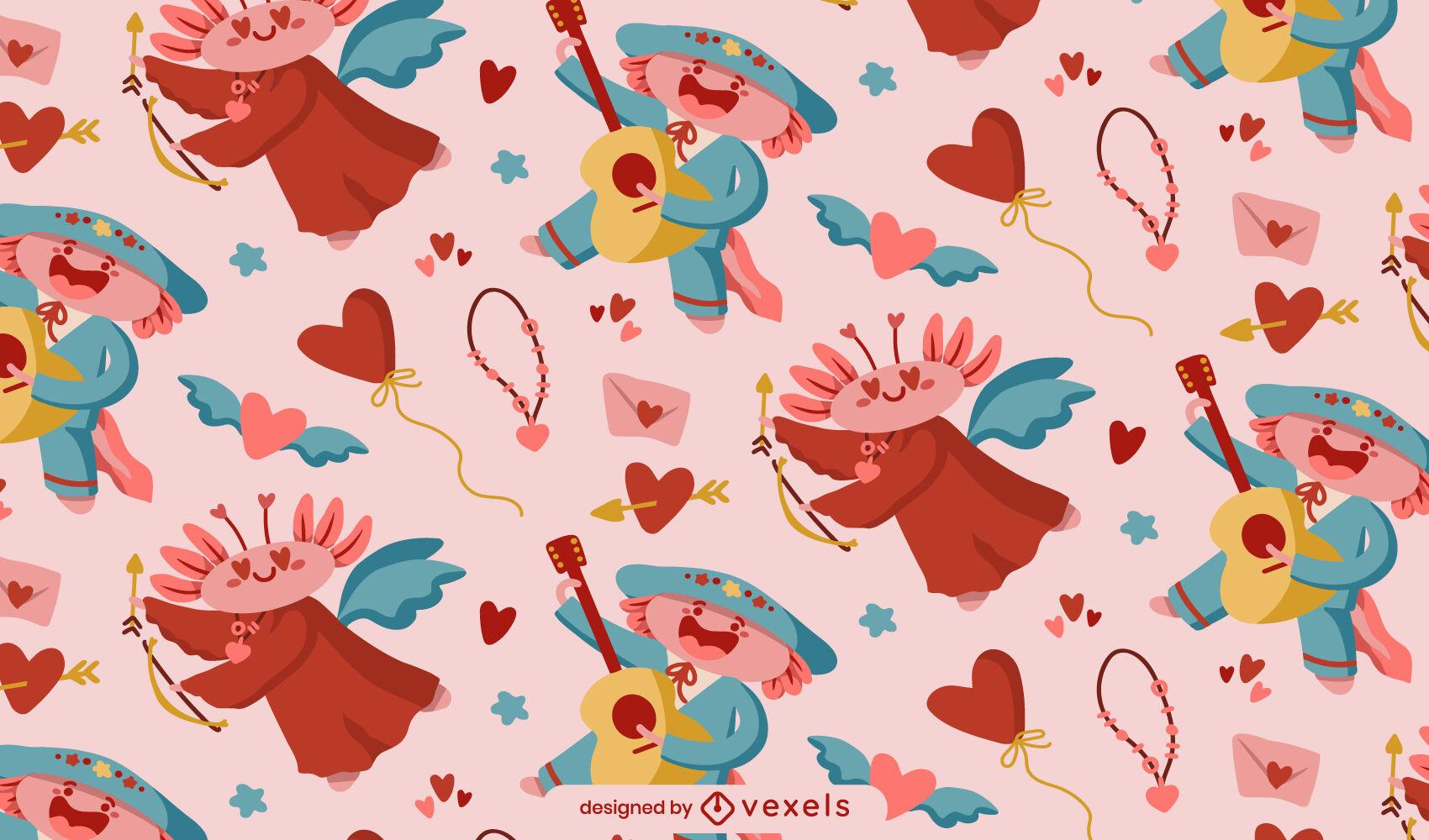 Axolotl amor personajes lindo patrón