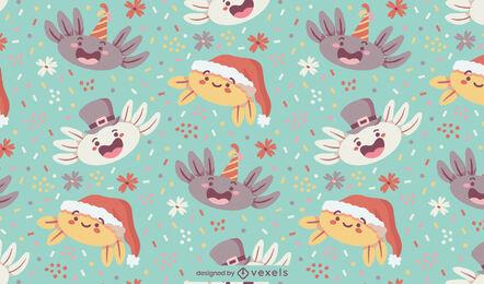 Axolotl vacaciones personajes lindo patrón