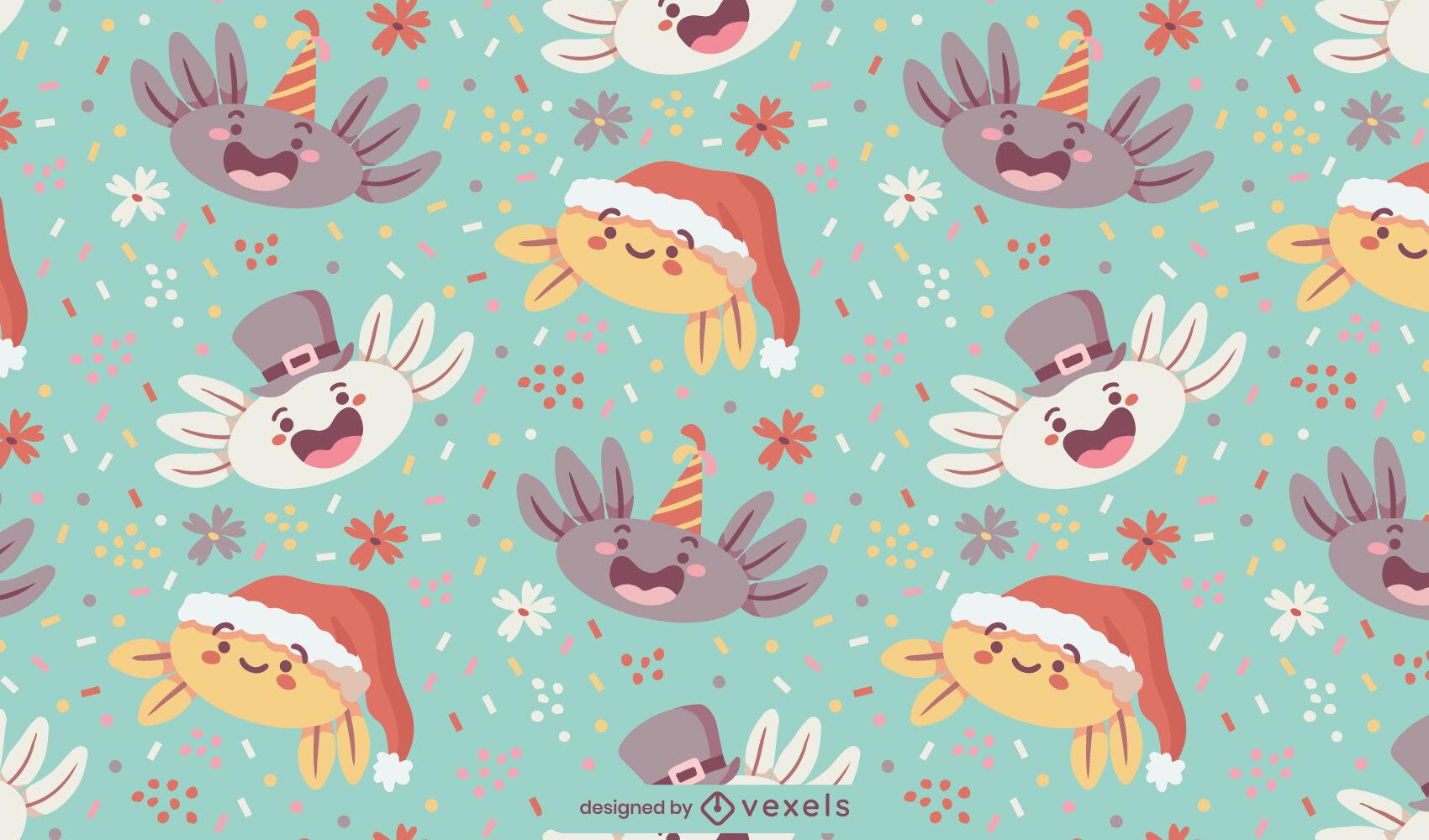 Padrão fofo de personagens de férias Axolotl