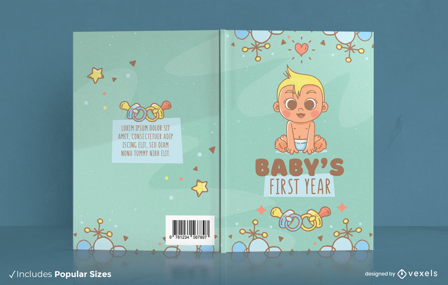 Baby first year cute book cover design