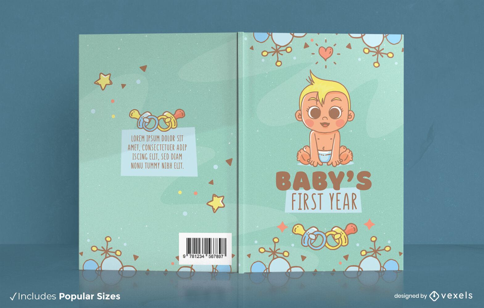 Diseño de portada de libro lindo bebé primer año