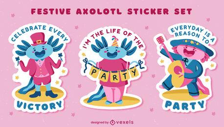 Festive axolotl cute sticker set