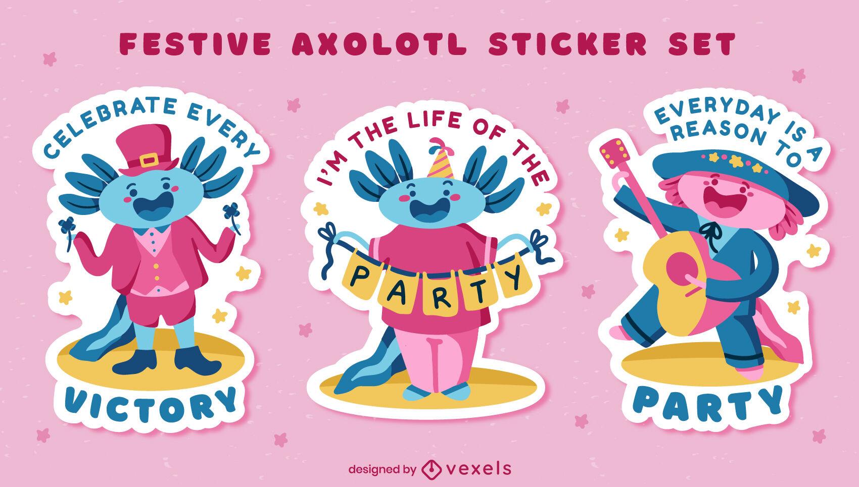 Lindo conjunto de pegatinas festivas axolotl