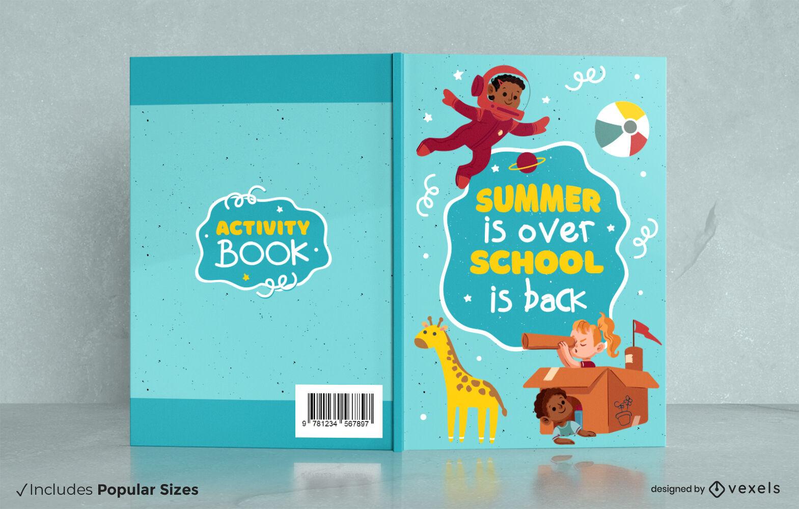 Design da capa do livro com atividades educacionais para crianças