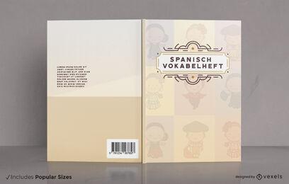 Diseño de portada de libro de aprendizaje del idioma español.