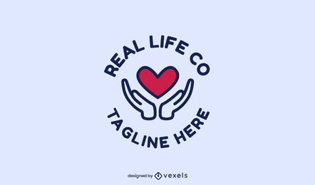 Plantilla de logotipo de trazo de color de manos y corazón