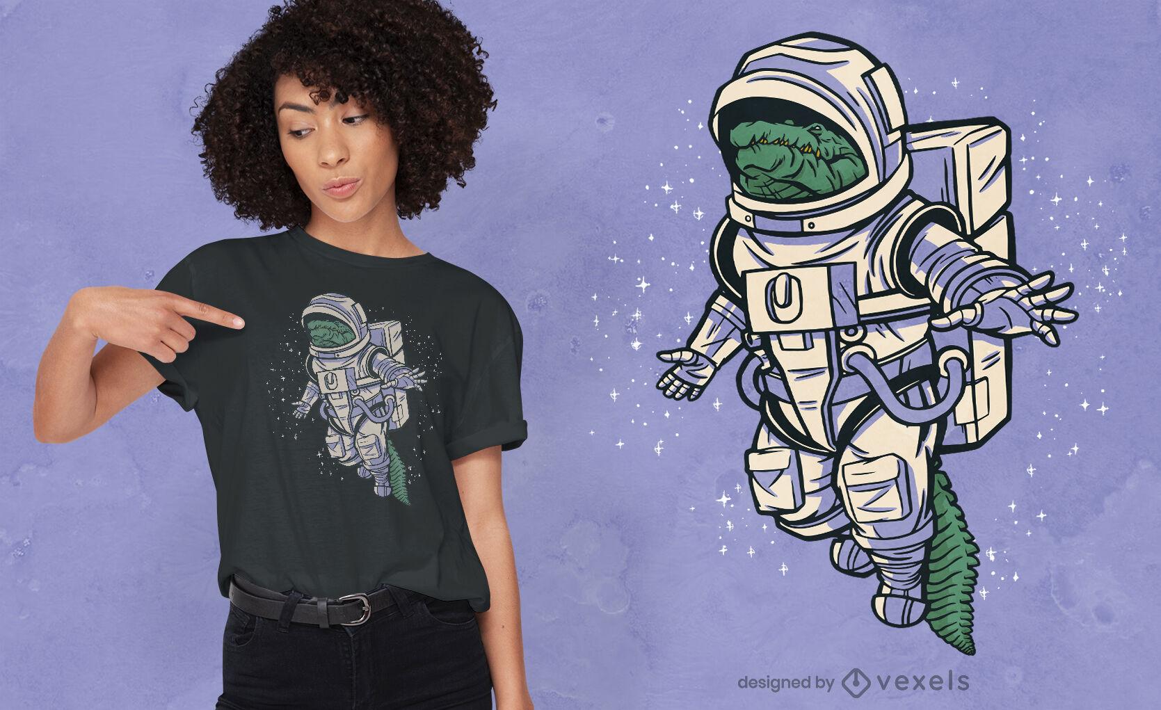 Design de camiseta de astronauta do espaço jacaré