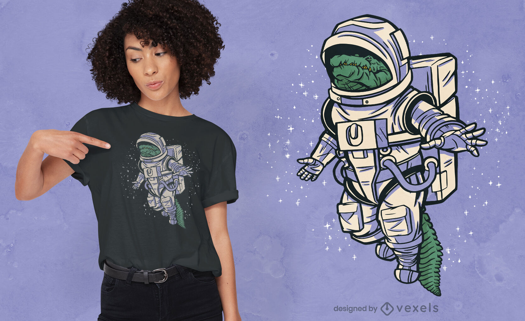Diseño de camiseta de astronauta espacial de cocodrilo.