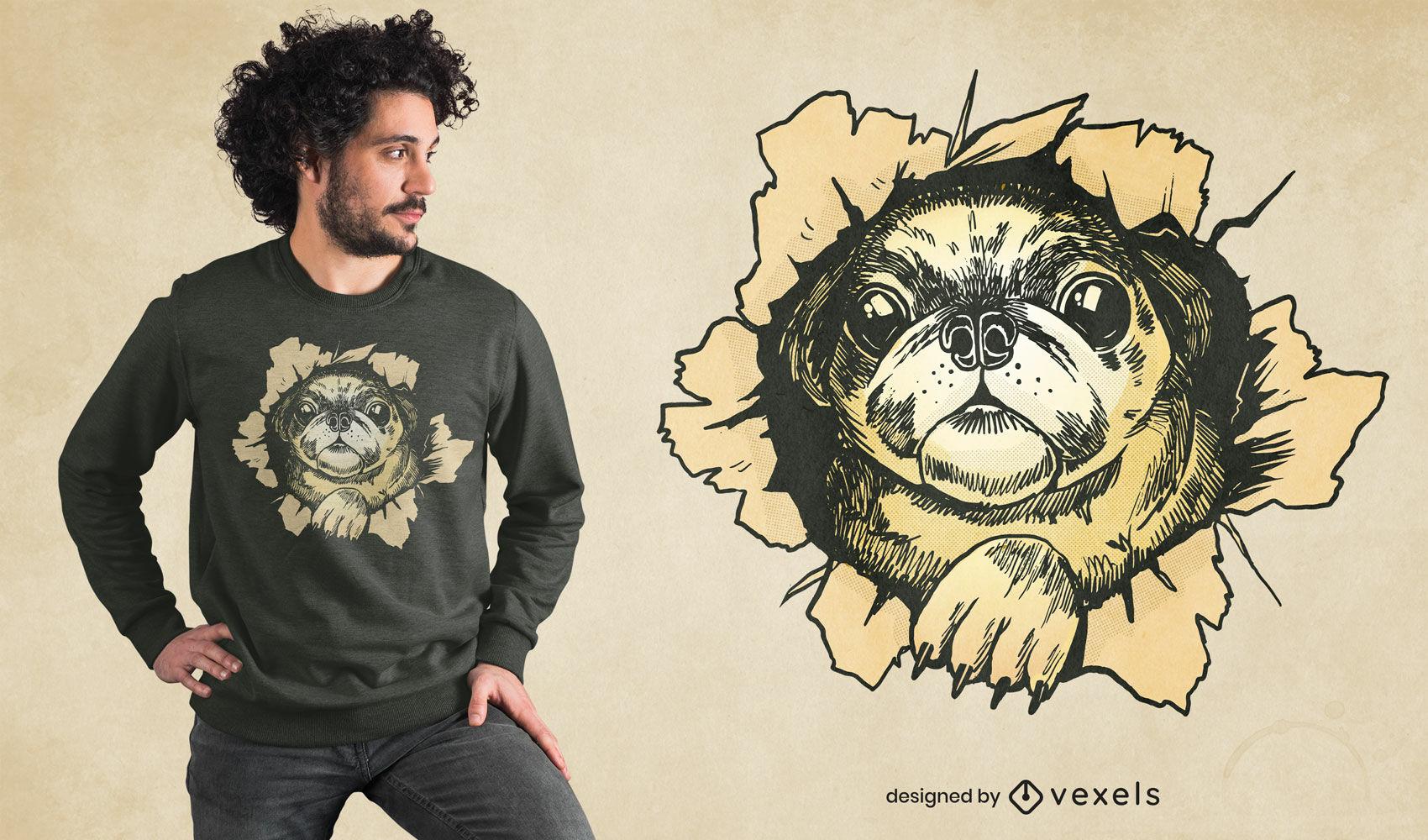 Diseño de camiseta de pared rasgada de perro Pug