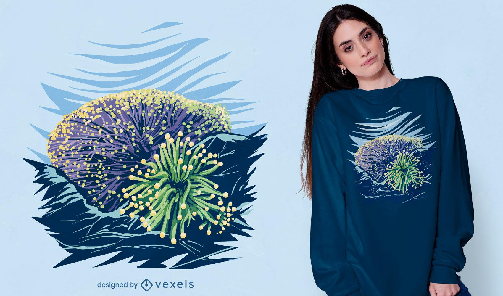 Diseño de camiseta de la naturaleza del océano del arrecife de coral