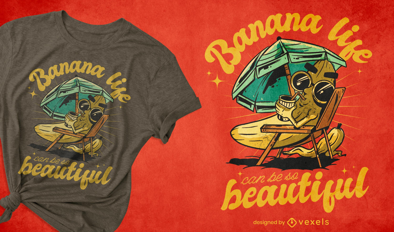 Diseño de camiseta de vacaciones de verano de plátano de dibujos animados
